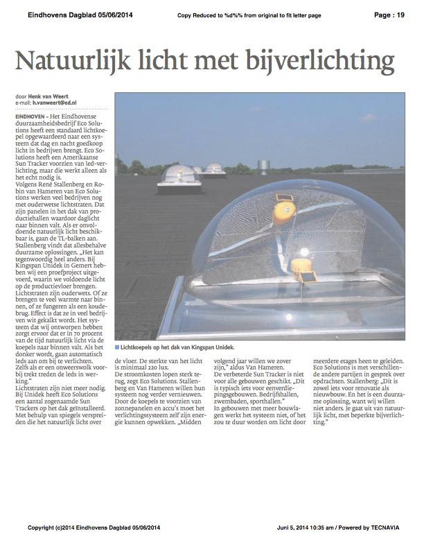 Ecosol Sun Tracker in het Eindhovens Dagblad